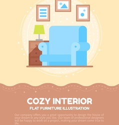 Flat cozy interior of a living room vector