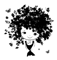 Floral female portrait black silhouette for your vector