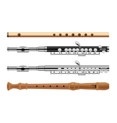 Flute musical instrument icons set flat style vector
