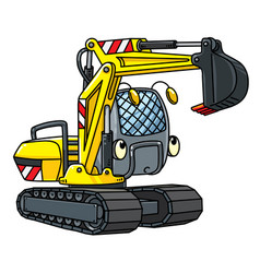 Funny small excavator with eyes vector
