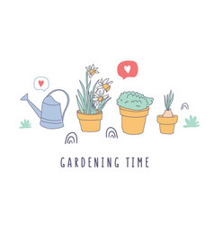 garden time happy time lettering with flower pots vector image