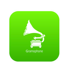 gramophone icon green vector image