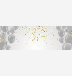 gray balloons and glitter festive banner vector image