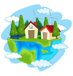 Green energy earth icon vector