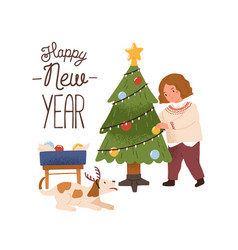 greeting card with girl decorating christmas tree vector image