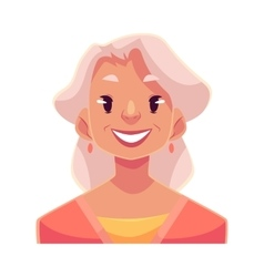 Grey haired old lady smiling facial expression vector