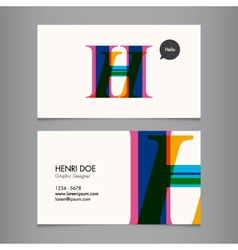 H business card vector