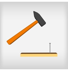 Hammer icon with long shadow blow with a hammer vector