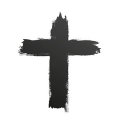 hand drawn black grunge cross icon simple vector image