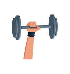 hand holding barbell sport icon vector image