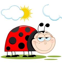 happy ladybug in the sunshine vector image