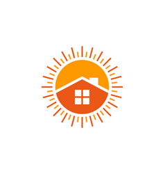 Home sun logo icon design vector