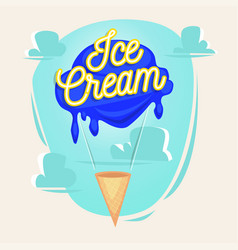 ice cream as balloon with lettering concept vector image