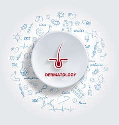 Icons for medical specialties dermatology concept vector