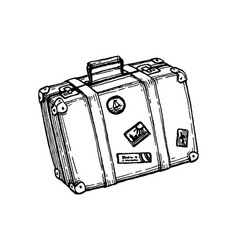 ink sketch suitcase vector image