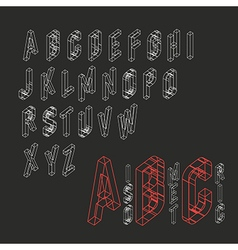 Isometric Alphabet Blueprint abstract background vector image