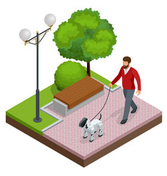 Isometric man is on a walk with a robot dog vector