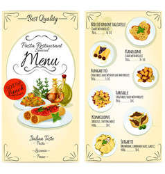 Italian pasta restaurant menu card template vector