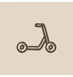 Kick scooter sketch icon vector