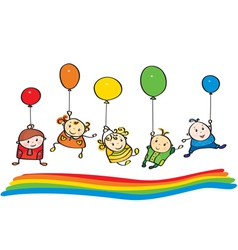 kids rainbow vector image