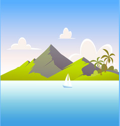 landscape with mountain and sea - scenic backdrop vector image