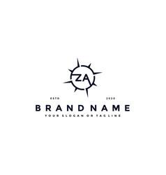 Letter za compass logo design vector