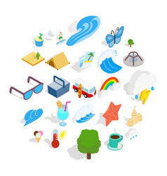 Lie on the beach icons set isometric style vector