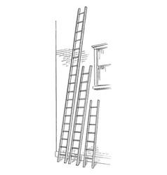Long ladders vintage vector