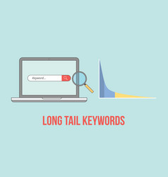 long tail keywords with laptop and graph chart vector image