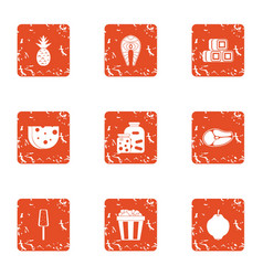 Marinate bbq icons set grunge style vector