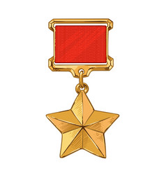 Medal star of the hero happy great victory vector