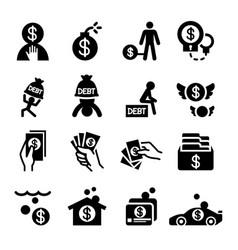 Money crisis debt icons set vector