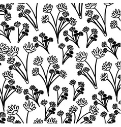 Monochrome pattern of branches with flowers vector
