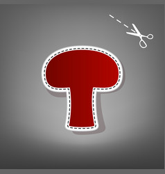 Mushroom simple sign red icon with for vector