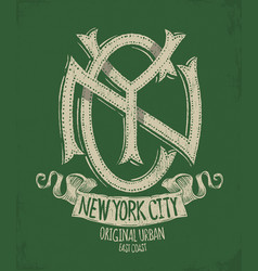 new york city grunge t-shirt print design vector image