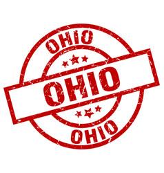 Ohio red round grunge stamp vector
