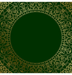 Oriental ornament on green background vector
