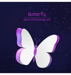 Paper butterfly card vector image