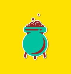 paper sticker on stylish background cauldron vector image