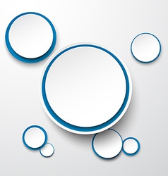 Paper white-blue round speech bubbles vector