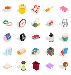 Peasant house icons set isometric style vector