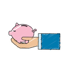 Pink save pig in the hand vector