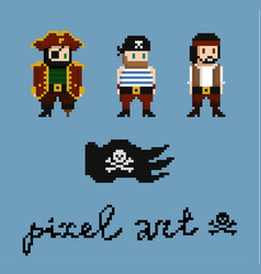 pixel art characters set pirate crew members vector image