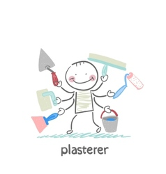 Plasterer holds a lot of tools to work vector