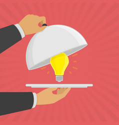 platter cloche with light bulb vector image