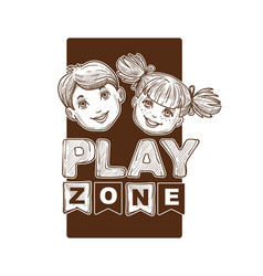 play zone for kids children sketch banner logo vector image