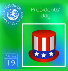 presidents day top hat with usa flag symbols vector image