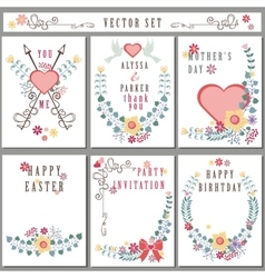 Retro card with floral decorCute Holiday set vector