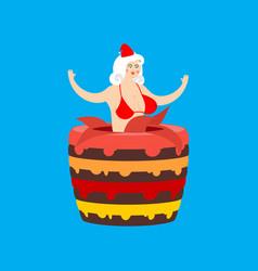 santa girl from cake striptease congratulation vector image