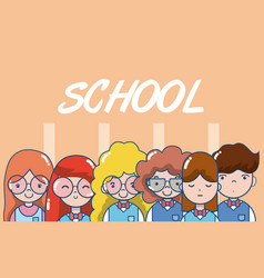School teachers and students vector